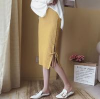 2017 Autumn Slim Thin Split Side With Strings Solid Color Knitted Skirt Hip Pack Knee Length