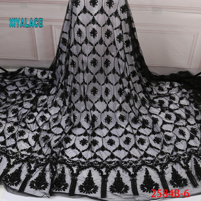 Nigerian Beaded Lace Fabric 2019 High Quality African 3D Net Lace Fabric Wedding French Tulle Lace Material For Dress YA2584B-6