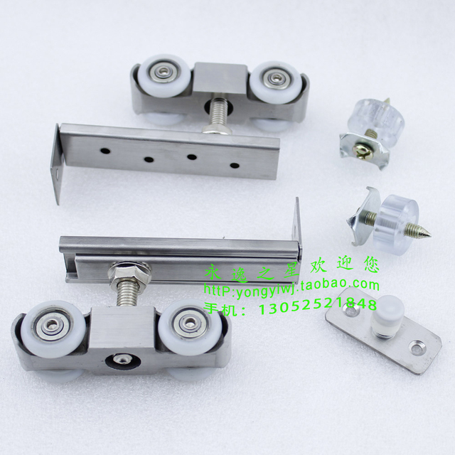 Stainless Steel Hanging Round Wooden Pulley Mute Muffler Sliding Door Track  Hanging Pulley 4 Round 1