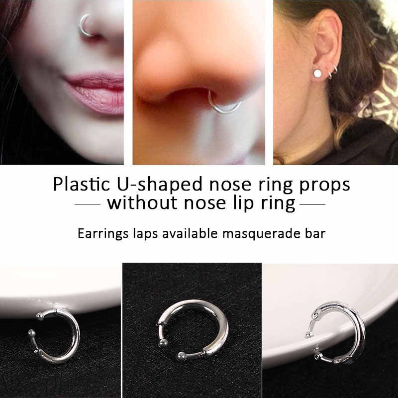 Prank Toys Antistress Silver Durable Toy prank Safe Material U-Shaped Lip Ring Cool Kids toys anti stress toy jokes