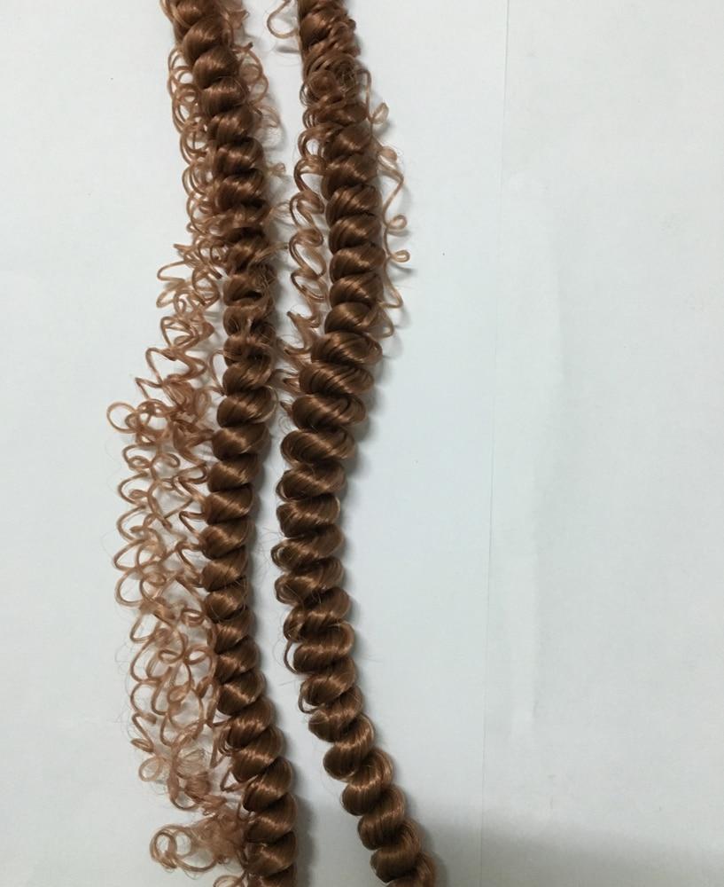100cm Fin curly peruker hår vit brun svart Naturfärg för flätad - Dockor och tillbehör - Foto 2