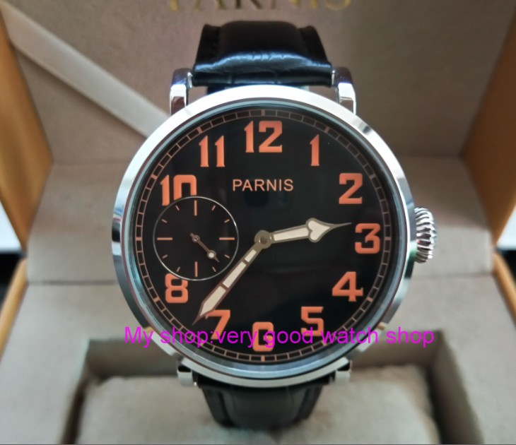 46mm parnis Black dial Asian 6497 17 jewels Mechanical Hand Wind movement men watch luminous Mechanical watches zdgd195a