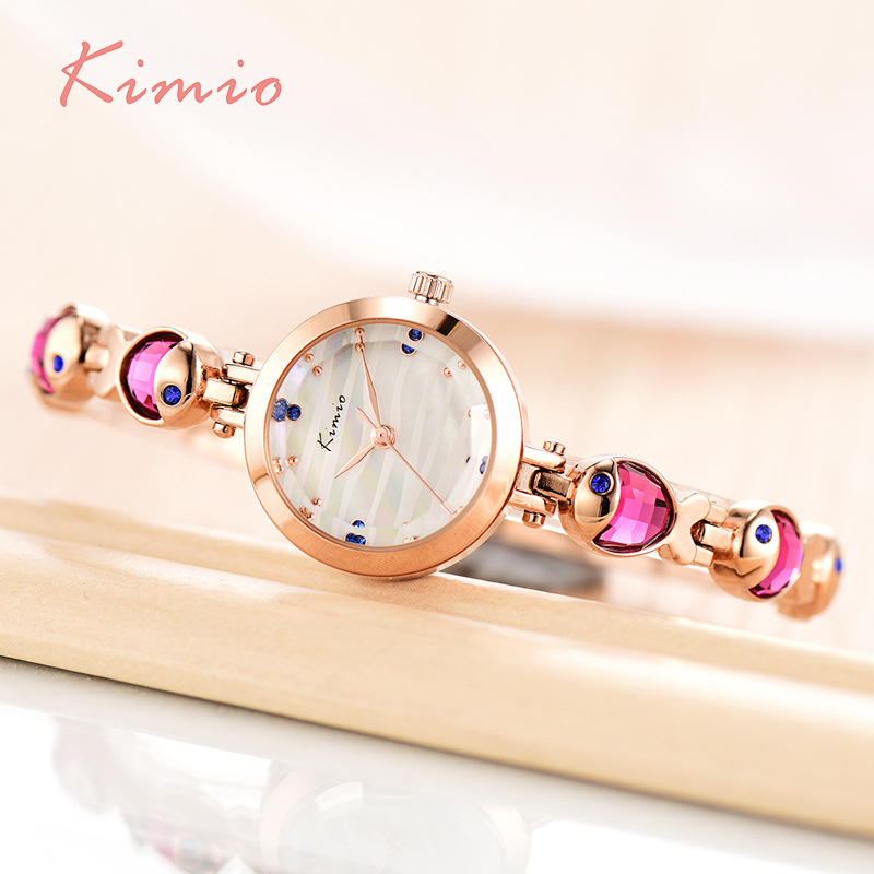 KIMIO Water Fish Gem Crystal Rose Gouden Armband Horloge Dames Luxe - Dameshorloges - Foto 3