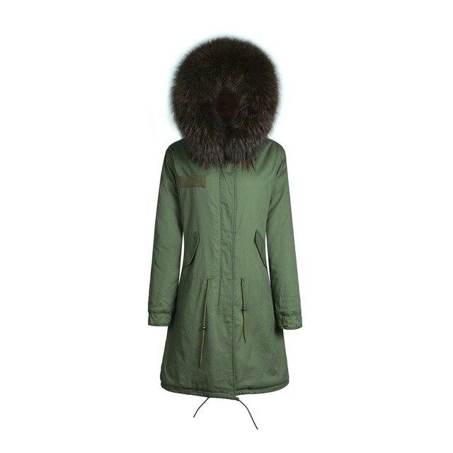 pretty nice e18db 00a23 US $450.0 |Militare faux fur lungo cappotto femminile sottile giacche  invernali donne cappotti di pelliccia con grande reale raccoon fur collar  mr ...