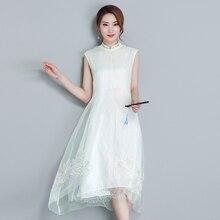 Envío Gratis Vestido largo de hada vintage blanco verano/ocio/cómodo & chan dao/Vestido zen
