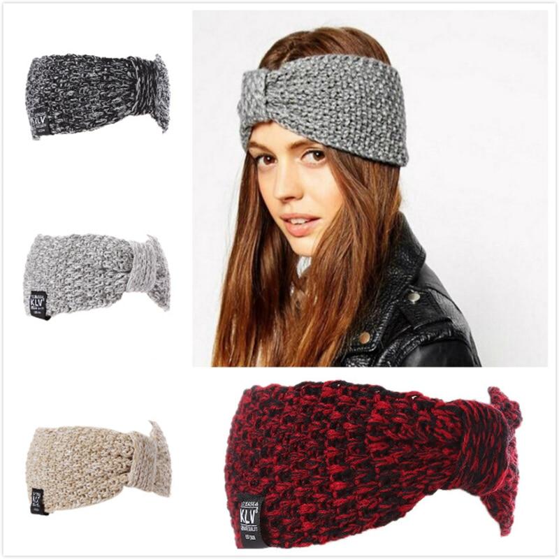 New Winter Solid Wide Knitting Woolen Headband Winter Warm Ear Crochet Turban Hair Accessories For Women Girl Hair Band Headwrap