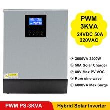 3000VA 2400ワット純粋な正弦波インバーターpwm内蔵ソーラー充電コントローラ24VDC入力220VAC出力ハイブリッドインバータPS 3K
