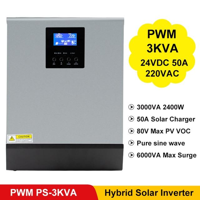 3000VA 2400W Pure Sine Wave Inverter PWM Built in Solar Charge Controller 24VDC Input 220VAC Output Hybrid Inverter PS 3K