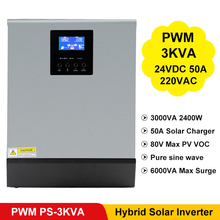3000VA 2400W saf sinüs dalga invertör PWM dahili güneş şarj regülatörü 24VDC giriş 220VAC çıkış hibrid invertör PS 3K