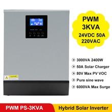 Inversor de onda sinusoidal pura de 3000VA y 2400W, PWM, controlador de carga Solar incorporado, entrada de 24VDC, salida de 220Vac, PS 3K híbrido