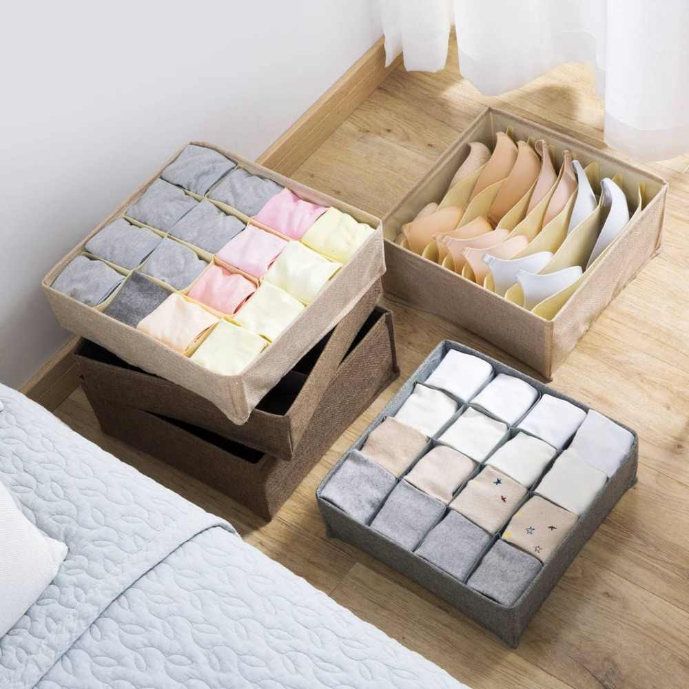 Linen+Nonwovens Simple Underwear Storage Box Multi-grid Clothing Organizer Case Bra Socks For Home Bedroom