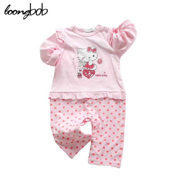 5438e0afa Hello Kitty Design Baby Girl Cartoon Clothes Bebe Pink Jumpsuit Newborn  Polka Dot One Piece Pajamas New Born Long Sleeve Romper