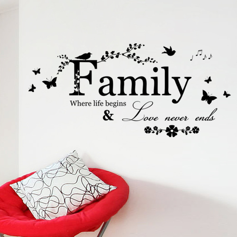 % Family Love Never Ends Butterfly Flower Quote Vinyl Wall Decal Lettering  Words Wall Sticker Home Decor Art Poster Wallpaper In Wall Stickers From  Home ...