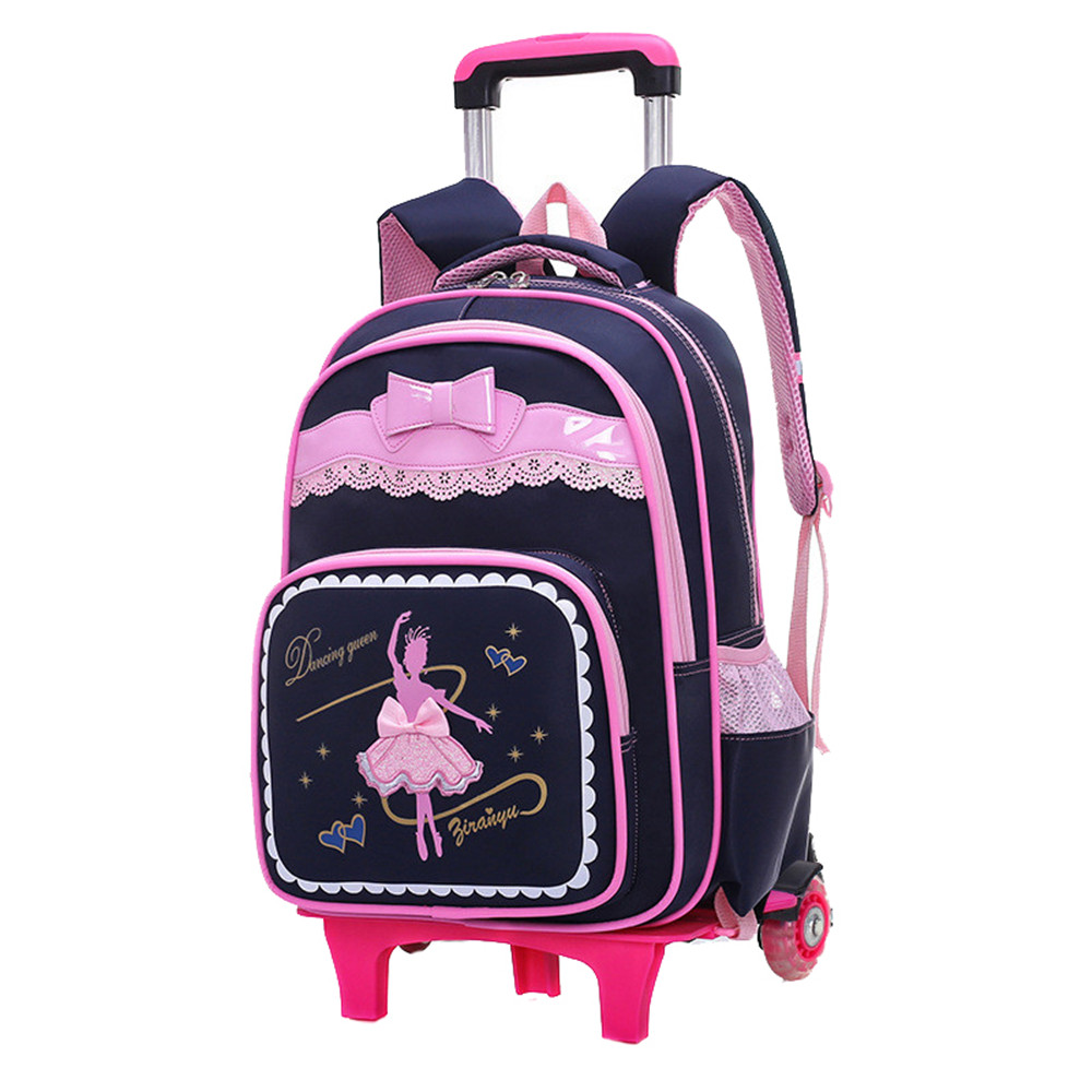 Cartoon 2 6 Wheels Girls Trolley school bags backpack detachable children Rolling book bag waterproof travel
