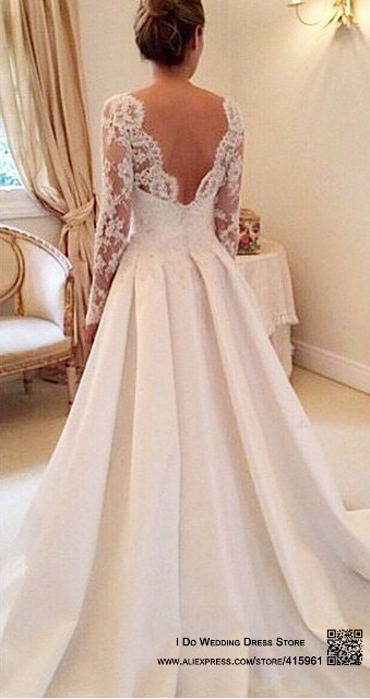 2016 Elegant Vestido De Renda Lace Long Sleeve Wedding Dress Open ...