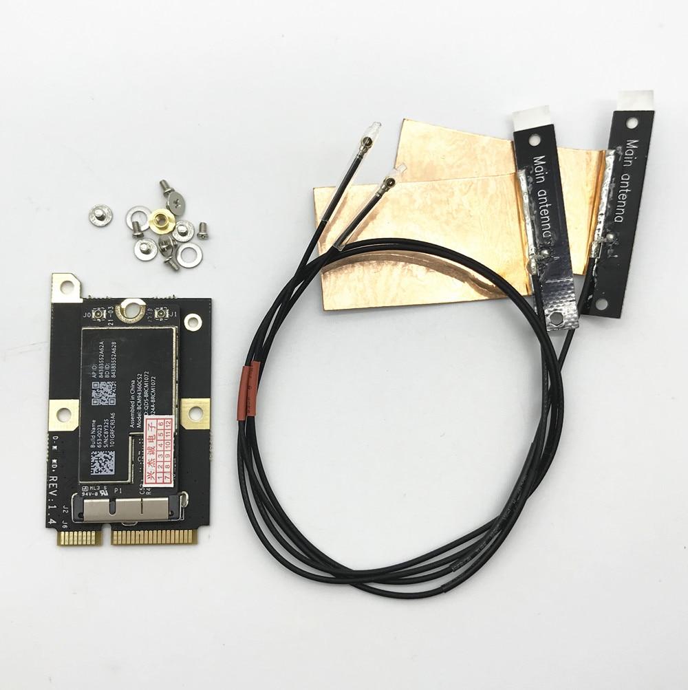 802.11AC BCM94360CS2 867Mbps Airport WiFi WLAN Card Bluetooth 4.0& MINI PCI-E Adapter&Antennas
