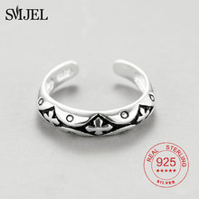 SMJEL 100% Sterling Silver Cross Ring for Men Woman Black Color Cool Male Casual Remove Design Silver Jewelry(China)