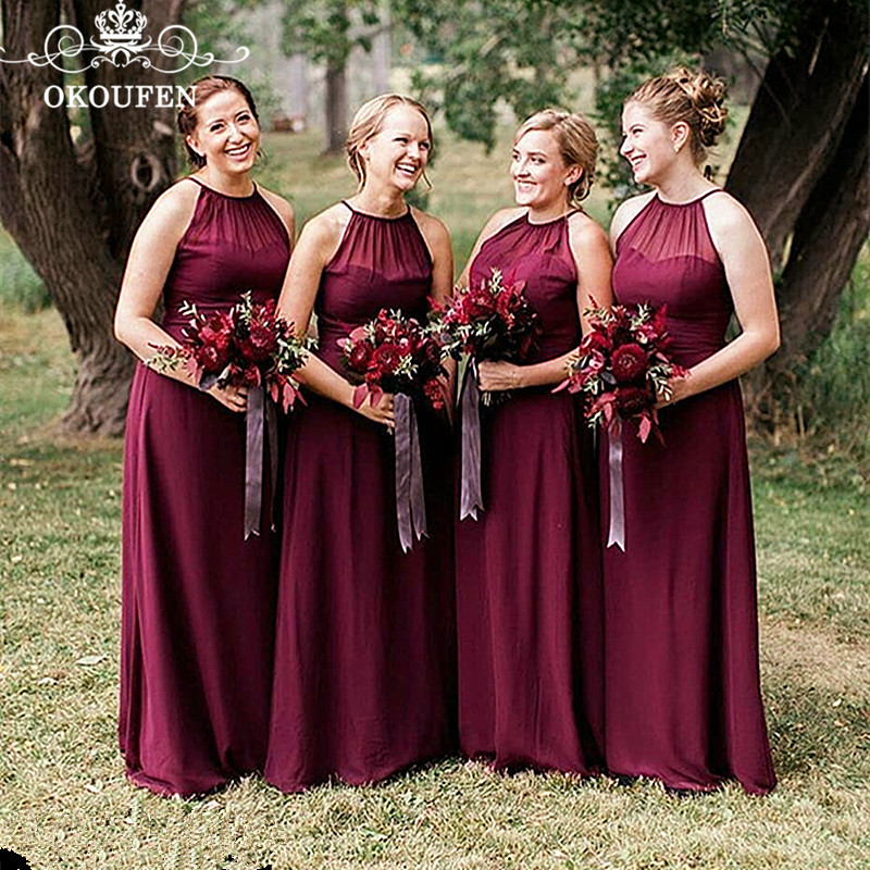 Wholesale Price Burgundy Long   Bridesmaid     Dresses   For Women 2019 Under 100 A Line Party   Dress   Maid Of Honor Formal Gown