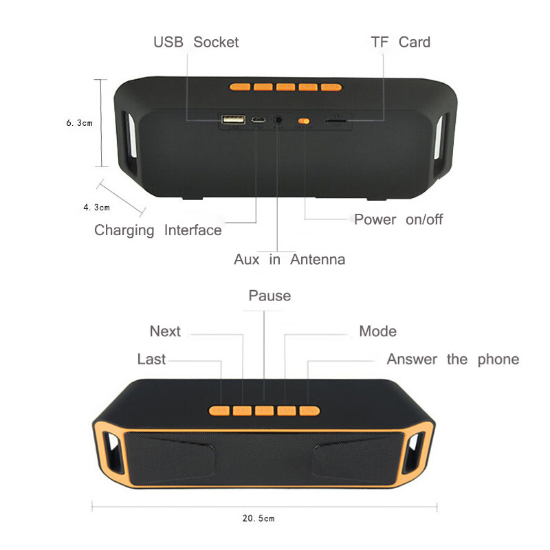 Mini Portable Column Bluetooth Speakers Caixa De Som Subwoofer Car Speaker With MIC For Cellphone iPhone xiomi elari computer