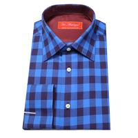 2cm square plaid Long-Sleeve Shirt, royal blue / dark navy ,  men's custom tailor made business cotton shirt , free shipping