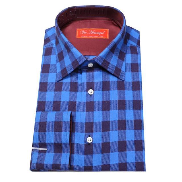 Aliexpress.com : Buy 2cm square plaid Long Sleeve Shirt, royal ...