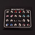 magnetic earrings 4MM  No Hole Round Crystal Magnetic Magnet Earrings For Women Men Punk earrings C82-C86