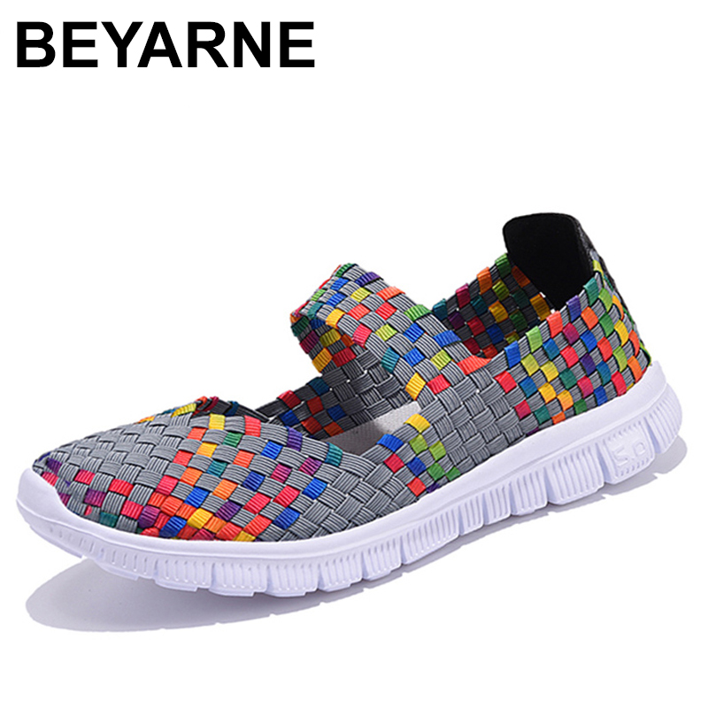 BEYARNE Casual Flats Shoes Woman Fashion Female Handmade Women Woven Shoes Summer Size Slip-on Flat Shoes Women Chaussure Femme eiswelt women flats shoes comfortable flat air mesh spring summer shoes female casual fashion slip on shoes for women flats