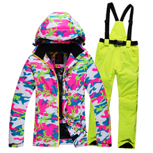 2016 New skiing jackets and pants Winter Women snow Suit Sets Windproof Waterproof Breathable Women Skiing suit Warm