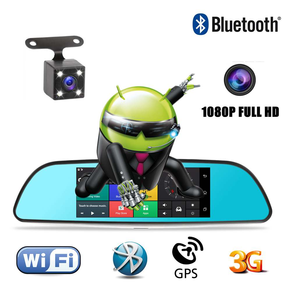 цена на Car DVR GPS 7 1080P WIFI Dashcam Touch Screen Monitor Rear View Mirror DVR Camera Android Dual Lens Digital Video Recorder