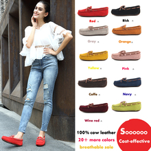 купить 2019 Shoes Women 100% Genuine Leather Women Flat Shoes Casual Loafers Slip On Women's Flats Shoes Moccasins Lady butterfly-knot по цене 1155.59 рублей