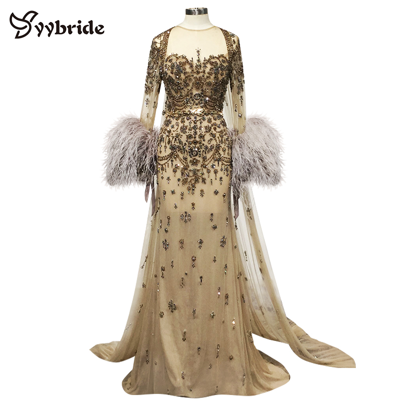 Us 1450 0 Yybride Long Sleeves With Feathers Bespoke Occasion Dresses Vintage Gold Color Scoop Neck Crystals Evening Cloak In