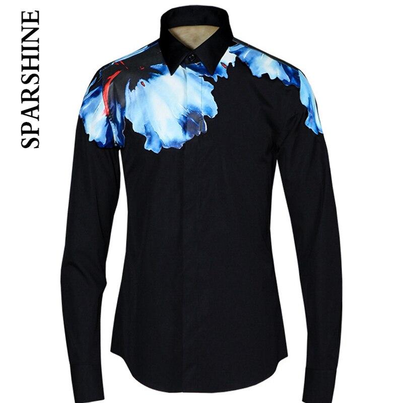 Color ink Print Black White Men Shirt Chemise Homme 2016 Mens Fashion Brooch Slim Fit Long Sleeve Dress Shirts Casual Shirts Men