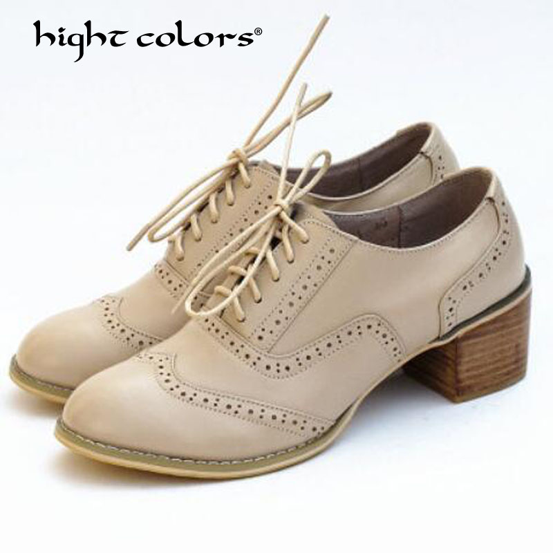 Oxfords Rétro black 22 Plat gray En Appartements white White 22 wine Cuir black Oxford Red red yellow Printemps brown Décontractées Style beige brown Talon Brogues red Femmes Lacets brown À Britannique 23 Chaussures 22 76yYgIbfv