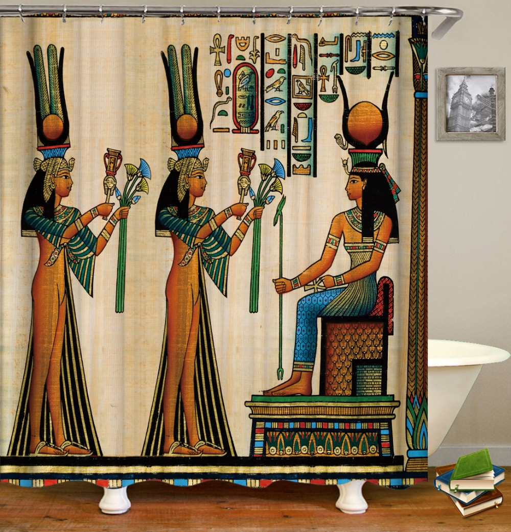 Novelty Egyptian Papyrus Toten Shower Curtain Ethnic ...