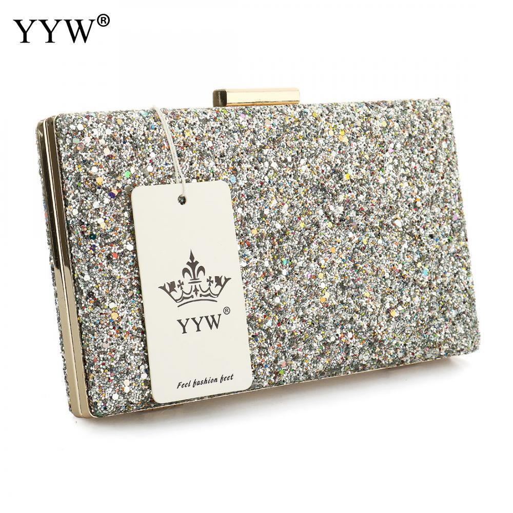 Image 5 - Yyw prata glitter embreagem noite festa saco de embreagem moda feminina luxo bolsa sacos pochettes preto argente casamento crossbody sacoBolsas de mão   -