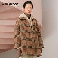 Samstree 29.3% Wool Coats Winter Brown Plaid Women Long Coats Loose Vintage Female Clothing Outwear