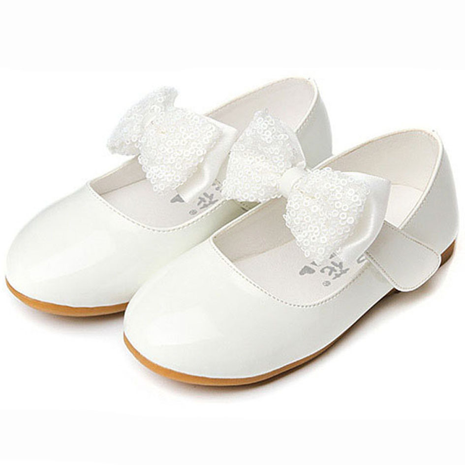 Buy Cheap 2017 New Flat Heel Sequins Bow tie Kids Girl shoes Fashion Children Girl Wedding Shoes Slip on Children Girls Dress Shoes White
