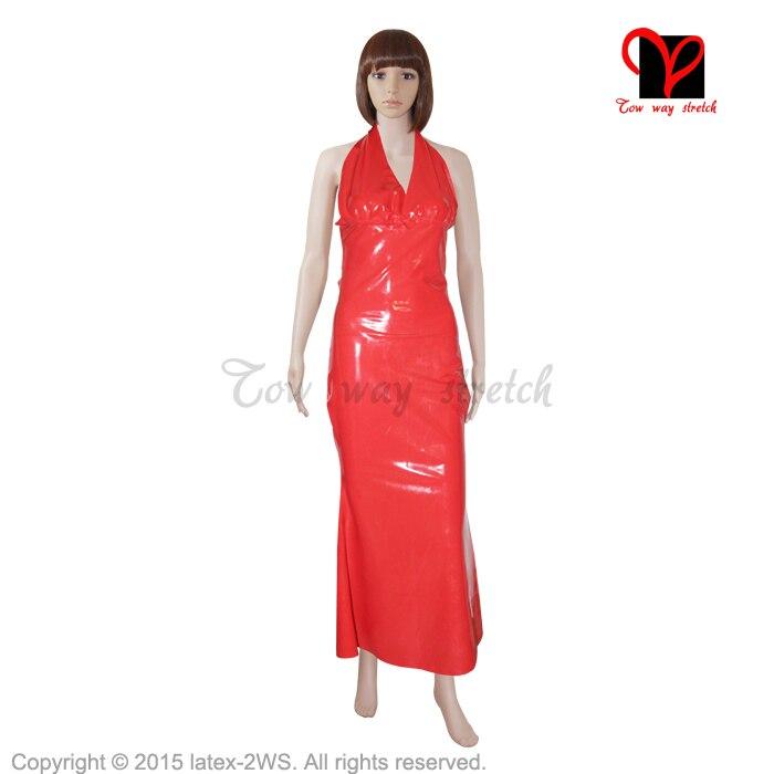 Sexy rouge Latex robe caoutchouc robe Gummi combishort moulante longue licou col en V queue gaine queue de poisson flare swing XXXL grande taille