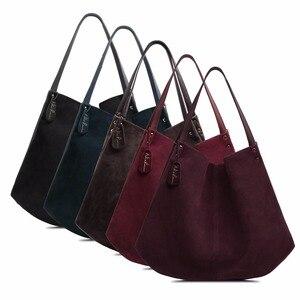 Image 5 - Новинка, женская сумка из натуральной замши и спилка, дизайнерские женские вместительные сумки на плечо, однотонная Повседневная дорожная сумка