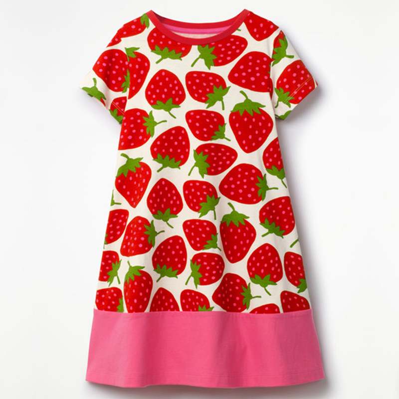 Strawberry Baby Girls Dresses Children Clothes Blouses Girls Jumpers Outfit Short Sleeve Clothing For Girl One-Piece Dress 2-6Y