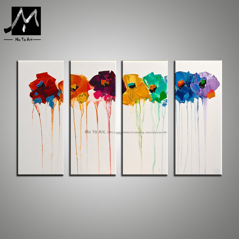 Wall art flower painting - Aliexpress Com Buy Muya Hand Painted Canvas Oil Flower Painting Wall Art Picture Modern Acrylic Painting On Canvas Wall Pictures For Living Room From