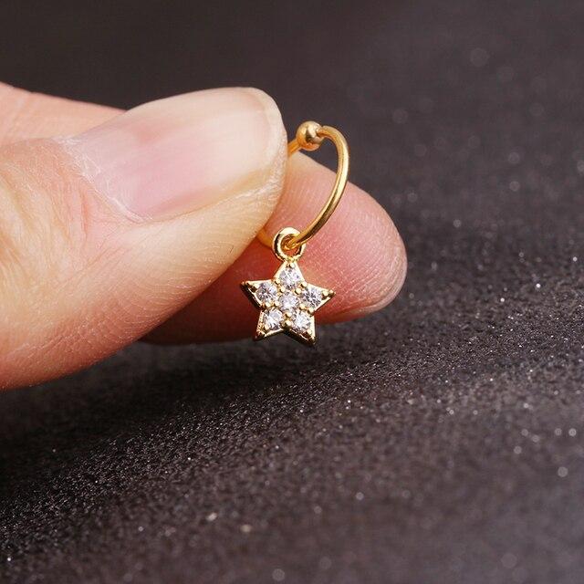 Sellsets New gold heart hexagon crystal tragus daith earrings helix cartilage hoop septum nostril piercing jewelry 3