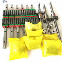 cnc set HGR20 Square Linear guide sets 12pcs HGH20CA +SFU605/1610 1605 ball screw+BK BF12 housing Coupling for Spindle motor kit