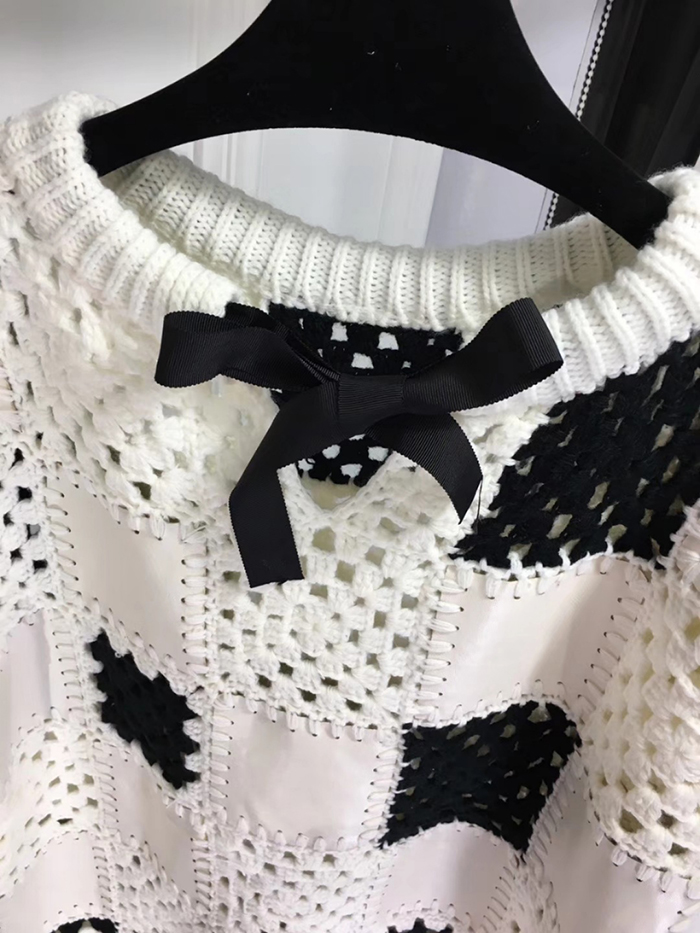 Couture Haute Nouveaux Automne Fomolayime Chandails 2018 Patchwork Évider Pull Chandail wIUqZIFn