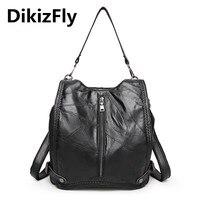 DikizFly borse di marca di Spalla Casuale borsa del Cuoio Genuino Morbida Pelle di Pecora borse da donna sacchetto di scuola grande capacità