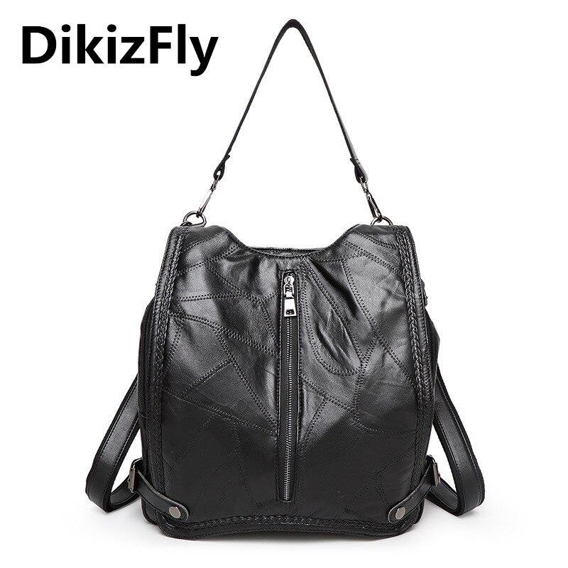 DikizFly brand Shoulder bags Casual Genuine Leather handbag Soft Sheepskin font b women b font bags