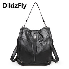 DikizFly marca bolsos de Hombro Informal bolso De Cuero Genuino bolsos de las mujeres de piel de Oveja Suave bolsa grande escuela de la capacidad