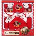 14-16 Piece100 % Algodón de Las Muchachas Que Arropan Otoño E Invierno Gruesa Ropa de Bebé Recién Nacido Set de Regalo Del Bebé