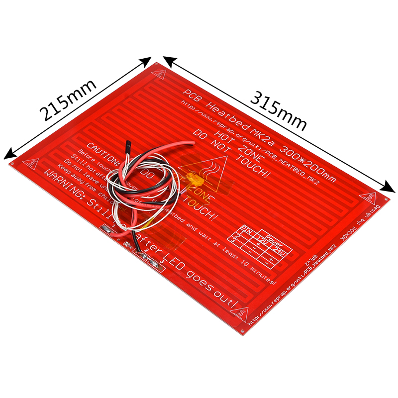 BIQU MK2A <font><b>Heatbed</b></font> <font><b>300*200</b></font>*2.0 PCB FR4 3d printer heat bed with led Resistor and cable for 3d printer machine+100K ohm NTC 3950 image