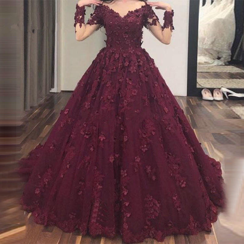 Boho Vestido De Noiva 2018 Muslim Wedding Dresses Ball Gown Long Sleeves Lace Flowers Dubai Arabic